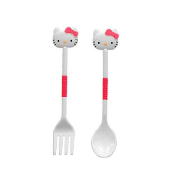 Hello kitty Dinnerware Set Tableware Lunch Set Cute Kawaii Baby Kid Tableware ABS Health Material, 1 Fork and 1 Spooon