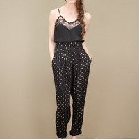 Vintage polka dot trousers, black with gold polka dot print throughout | shopcuffs.com