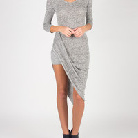 Choked Up Long Sleeve Draped Dress