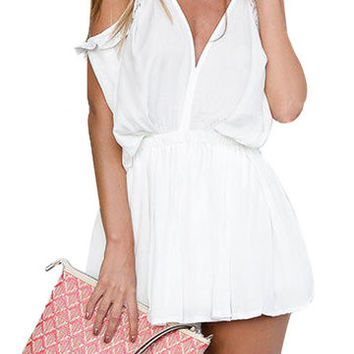 White Ruffle Cold Shoulder Cutout Playsuit