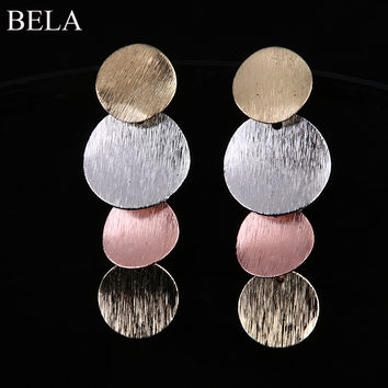 Luxury Brand Big Circle Statement Earrings for Woman Silver /Gold Plated Dangle Earrings Wedding Jewelry Brincos WE2155