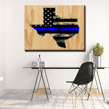 Texas Thin Blue Line Wooden Wall Decor