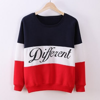 2015 Autumn and winter women fleeve hoodies printed letters Different women's casual sweatshirt hoody = 1705628996