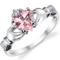 Stelring Silver 925 Irish Claddagh Friendship & Love Ring with Pink Heart CZ Sizes 4 to 10