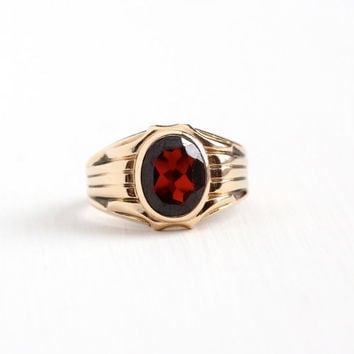 Vintage 10k Rosy Yellow Gold 2 + Carat Garnet Ring - Size 8 Retro 1950s Men's Dark Red Gem Church & Co Fine Jewelry Dated 1951, Brad 3-28-51
