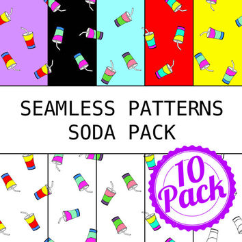 Seamless Patterns JPG Files - Soda Pack - Digital Scrapbook Paper Pack