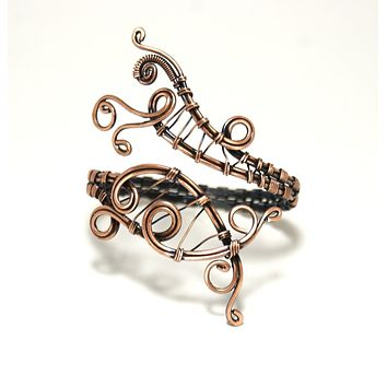 Handmade Copper Cuff Bracelet, Wire Wrapped