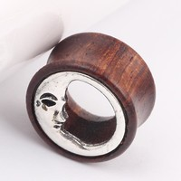 Unique Pair of Wood Sun & Moon Hollow Ear Gauges Flesh Tunnel Ear Plugs Expander piercing plugs ear guages