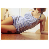 1950's Checkered Swimsuit 50s One Piece Blue and White Bathing Suit Adjustable Straps size 8/10