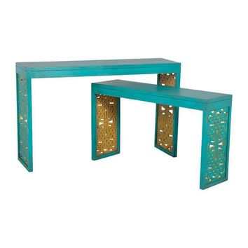 Carved Parsons Sofa Tables Blue,Lime