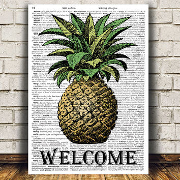 Vintage print Kitchen art Pinapple poster Food print RTA926