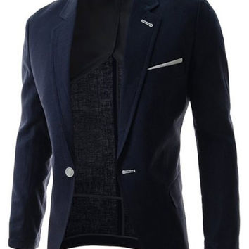 One Button Design Lapel Long Sleeve Blazer