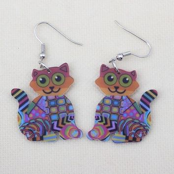 Cats cute lovely printing drop earrings acrylic new design accessories style for girls woman jewelry