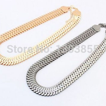 New HOT Fashion Gold Silver Plated Metal Chunky Link Chain Choker Bib Necklace 1CM