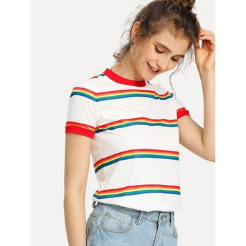 Rainbow Stripe Print T-shirt