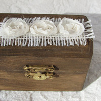 Shabby Rustic Woodland Cottage CHic Wedding Ringbearer Box With Ivory Burlap and Organza Flowers