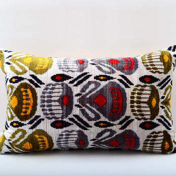 22x14, yellow, red ikat, grey ikat, yellow ikat, velvet ikat pillow, velvet ikat, lumbar ikat, velvet pillow