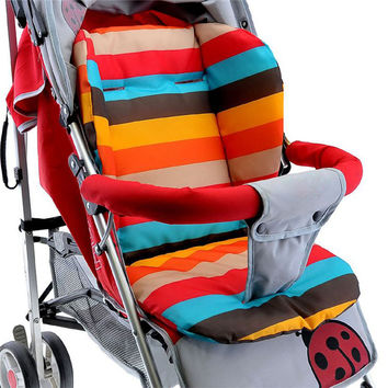 Baby Infant Stroller Seat Pushchair Cushion Cotton Mat Rainbow Color Soft Thick Pram Cushion Chair BB Car Seat Cushion FCI#