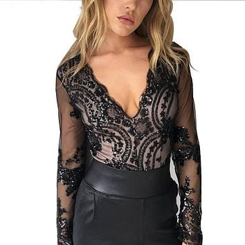 Sequins Women Sexy Leotard Top with shorts playsuit Ladies Patchowrk see through blouse long sleeve mesh top shorts