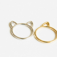 Small hammered kitty knuckle ring ,cat ring, kitty cat ring, kitty ring, cat ears ring , gold cat ring, sterling cat ring,USADR21