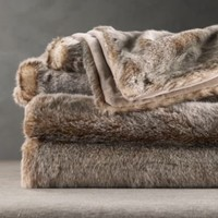 Luxe Fur Throw - Lynx | Throws | Restoration Hardware