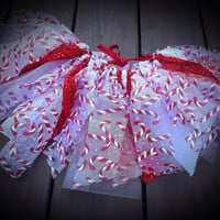 Christmas Tutu Candy Cane skirt shabby chic fabric and by LilNicks