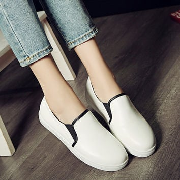 Flock Slip-on Flat Platform Loafers Shoes 3551