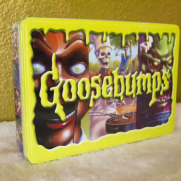 GOOSEBUMPS // Vintage 90s Collectible Tin Metal Keepsake Box R.L. Stine 1990s Kid Scary Books Toys Slappy Container Craft School Supplies