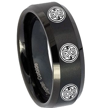 8MM Brush Black Beveled Edges Multiple Doctor Who Tungsten Laser Engraved Ring