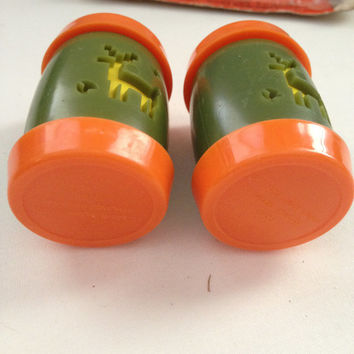 Vintage Plastic St. Labre Indian School Salt & Pepper Shakers Orange Green and Yellow Ashland Montana , vintage salt shakers, retro kitchen