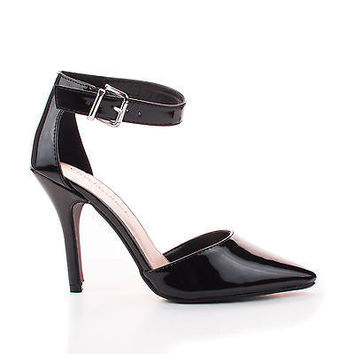 Update Black Patent By City Classified, D'Orsay Pump w Ankle Strap High Heel Stiletto Women Shoe