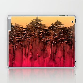 FOREST THROUGH THE TREES 12 Hot Pink Magenta Orange Black Landscape Ombre Abstract Painting Outdoors Laptop & iPad Skin by EbiEmporium