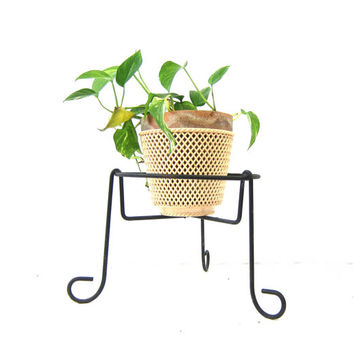 Mid Century Black Metal Stand Vintage Black Wroght Iron Metal Retro Plant Stand Home Decor
