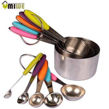 10pcs/set Kitchen Tools And Cooking Stainless Steel Measuring Cups Measuring Spoon Scoop Set Spoons With Scale Silicone Handle