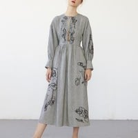 LILITH dress (embroidered striped linen/cotton) by Heinui