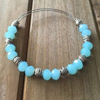 Blue Sky // Adjustable Beaded Bangle Bracelet // Alex and Ani Style