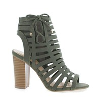 Server By Delicious, Open Toe Caged High Heel Mule Sandals
