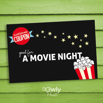Printable Movie Night Coupon,Card,PDF Invitation, Ready to print Coupon,Card.