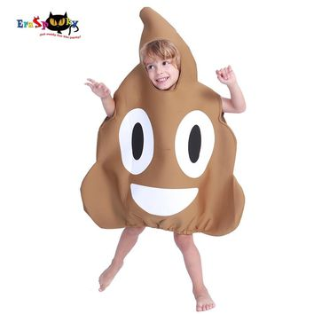 Cool Carnival Cute Funny Halloween Costume For Kids Unisex Cartton Poop Emoji Cosplay Fancy Dress Boys Jumpsuit Novelty ClothesAT_93_12