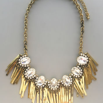 Dazzling Gold Crystals Necklace