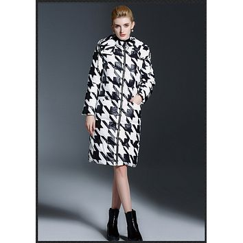 2016 Winter White Duck Down Jacket Women Long Coat Houndstooth Print Parkas Thickening Female High Quality Hood Overcoat