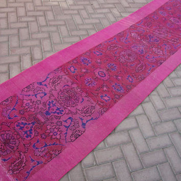 RUNNER Rug Vintage Overdyed Pink Runner Rug Boho Oushak Overdyed Runner Carpet Anatolian Turkish Wool Antique Runner Rug 11.4 x 2.9 Feet
