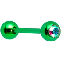 14 Gauge Aurora Gem Green Anodized Titanium Barbell Tongue Ring   Body Candy Body Jewelry