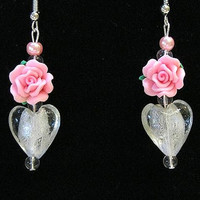 Valentine Earrings, Rose Earrings/ Fimo Roses, Glass Hearts, Handcrafted , Say it with Roses