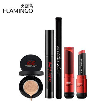 Free Shipping China top 1 Flamingo brand  Value Pack beginners cushion waterproof makeup mascara eyeliner CC Cream Lipstick Set