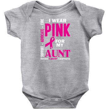 I Wear Grey For My Aunt (Brain Cancer Awareness) Baby Onesuit