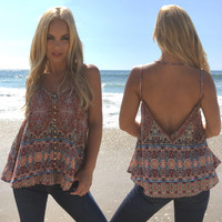 Art Deco Print Open Back Top