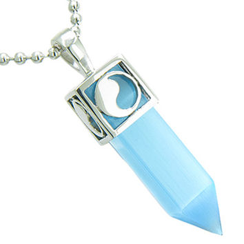Positive Energy Yin Yang Amulet Crystal Point Lucky Charm Sky Blue Cats Eye 18 Inch Pendant Necklace