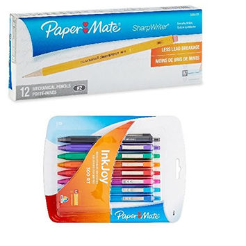 Paper Mate InkJoy Ballpoint Pen 1781564, Assorted Colors, 8-Pack with Paper Mate Sharpwriter 0.7mm Mechanical Pencils, 12 Yellow Pencils (3030131)