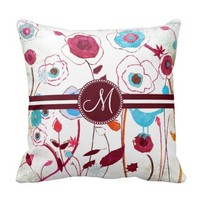 Monogram Colorful Spring Flowers Birds Mulberry